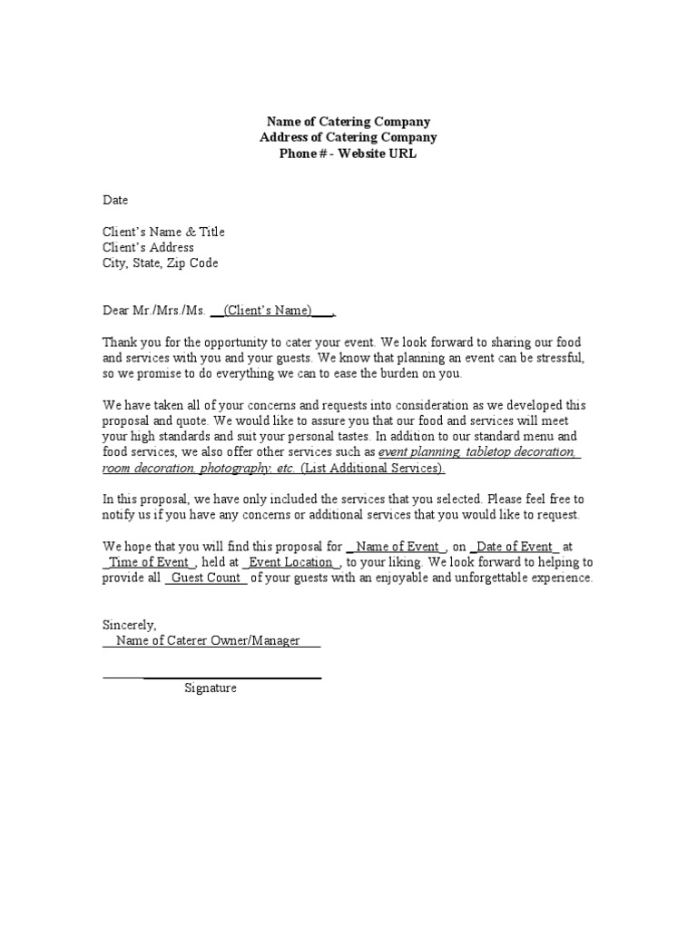 Catering Proposal Quote Template Economies – Catering Quote Template