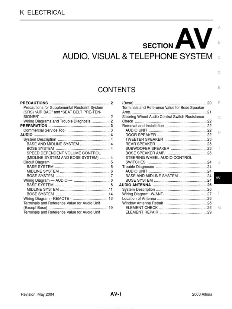 2003 nissan altima 2 5 serivce manual av