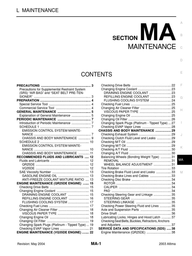 2003 nissan altima 25 serivce manual ma airbag motor oil publicscrutiny Gallery