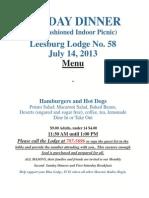 Leesburg Dinner Menu July 2013