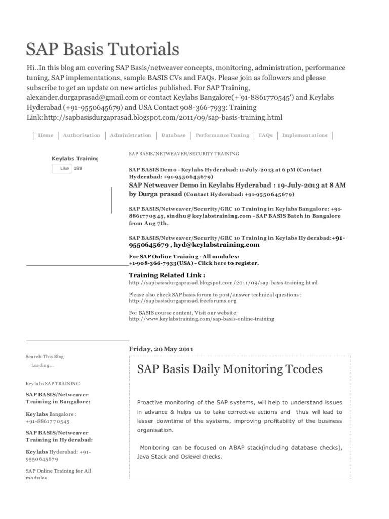 SAP Basis Monitoring Tcode | Backup | Databases