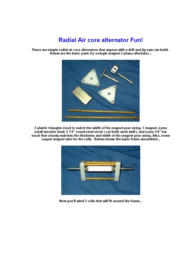 Radial Air core alternator Fun.doc | Wire | Drill