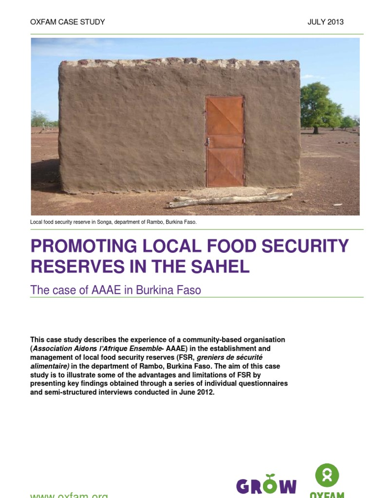 promoting local food security reserves in the sahel the case of promoting local food security reserves in the sahel the case of aaae in food security