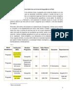 Algunos datos estadísticos Sobre las carreras de Geografía en el País
