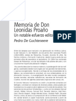 Memoria de Don Leonidas Proaño Un notable esfuerzo editorial