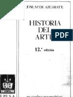José María Azcarate - Historia del arte en cuadros esquemáticos - primera edición 1946 - 97 pág - (12 ed)