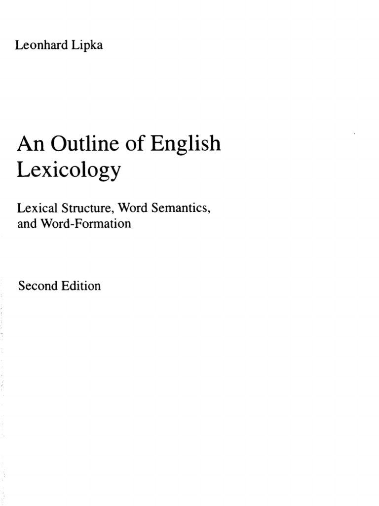 Lipka Leonhard 1992 An Outline Of English Lexicography