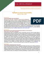 Highlights on Social Accountability (April 23-May 1, 2013)