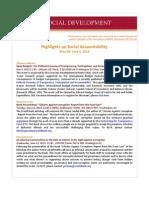 Highlights on Social Accountability (May 28 -June 4, 2013)