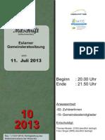 Eslarner Gemeinderatssitzungen - Mitschrift vom 11.07.2013