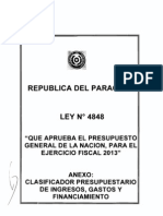 CLASIFICADOR PRESUPUESTARIO 2013