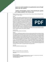 Aplicação da versão brasileira do questionário de dor Mcgill em idosos com dor crônica