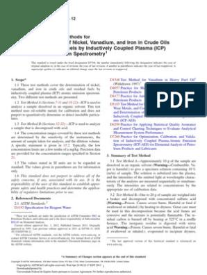 ASTM D5708 Determination of Nickel, Vanadium, And Iron in