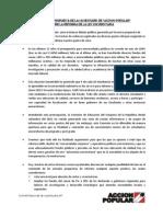 Manifiesto de Las Juventudes de Accion Popular_reforma de Ley Universitaria_090713