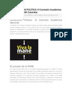 DECLARACIÓN POLÍTICA VI Comisión Académica Nacional