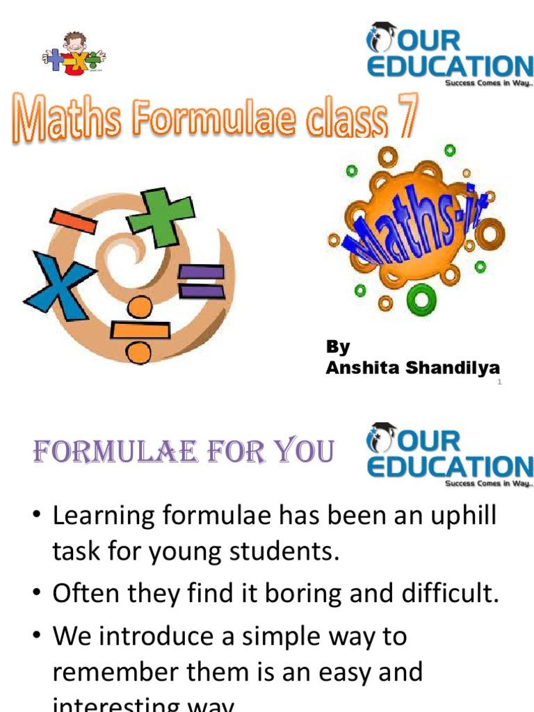 Class 7 Maths Formula