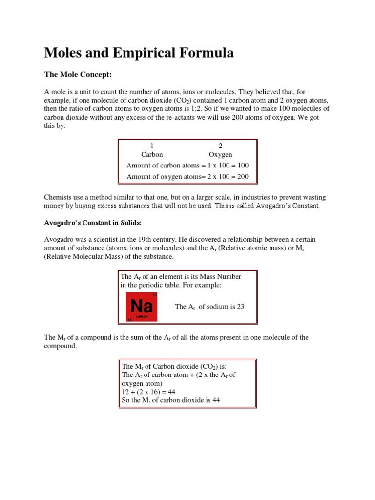 moles mole and formula units