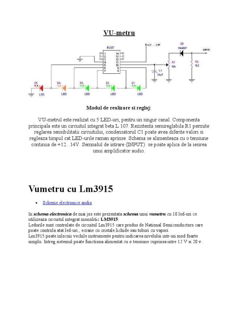 Vu Metru Voltage Power Supply Meter Using A Lm3915 Circuit Diagram