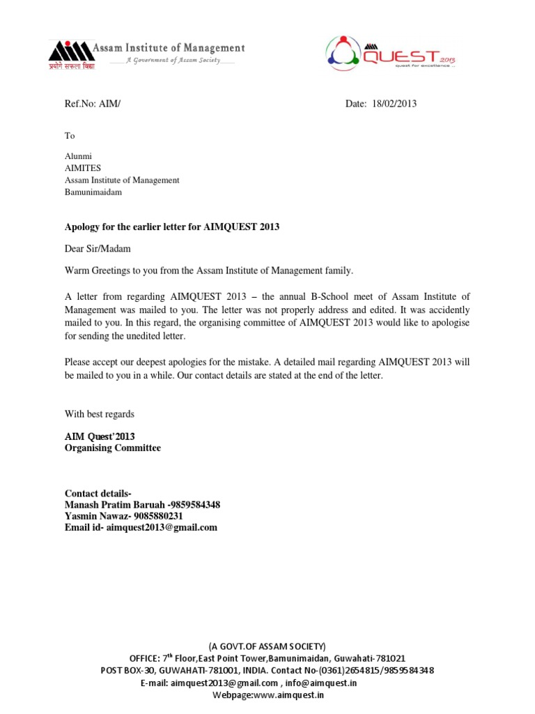 Letter Of Apology For Mistake from imgv2-1-f.scribdassets.com