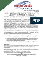 QUALLS WELCOMES CRANLEY'S INTEREST IN MINORITY INCLUSION PROGRAMS