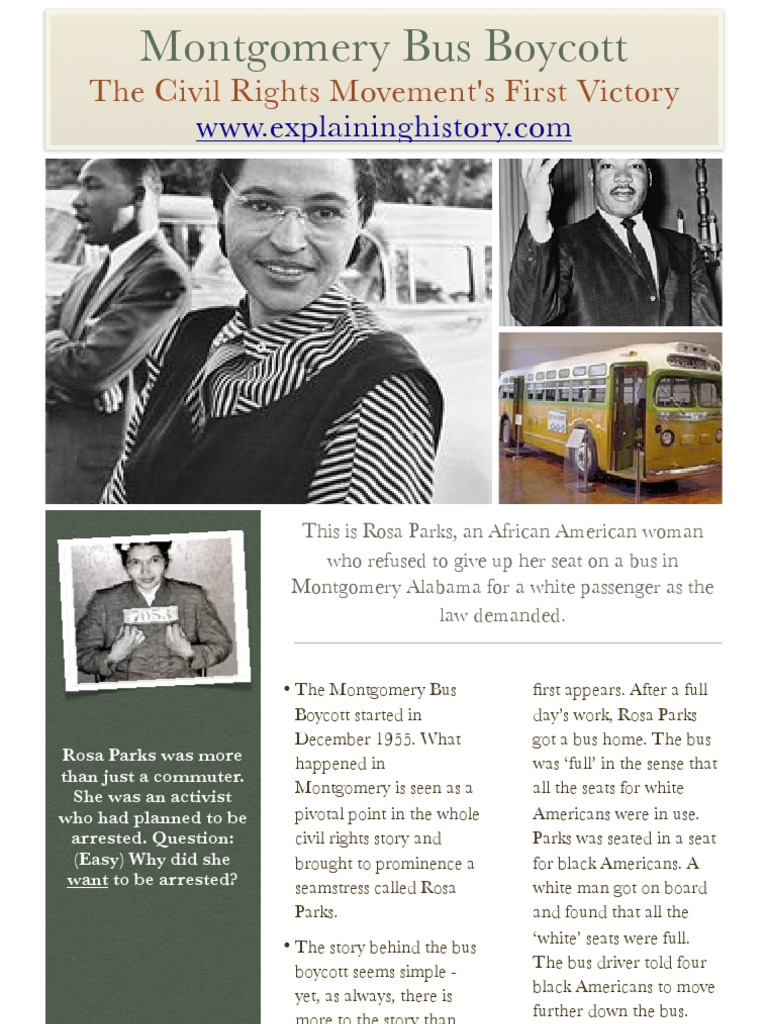 Montgomery Bus Boycott Rosa Parks African American Civil Rights