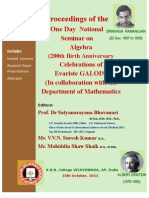 Proceedings of the One Day National Seminar on Algebra 200th Birth Anniversary Celebrations of Evariste Galois at Kbn College Vijayawada 2011.10.25 Final to Upload