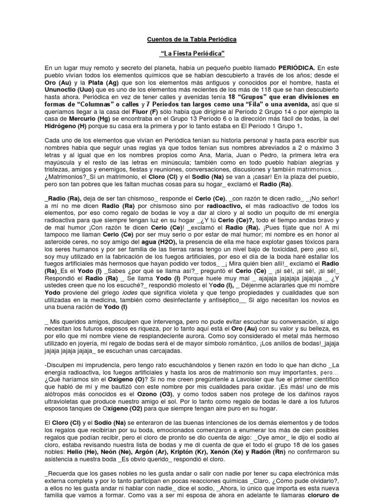 Cuentos de tabla periodica urtaz Image collections