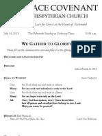 Worship Bulletin July 14, 2013