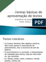 Formas básicas de  apresentação de textos