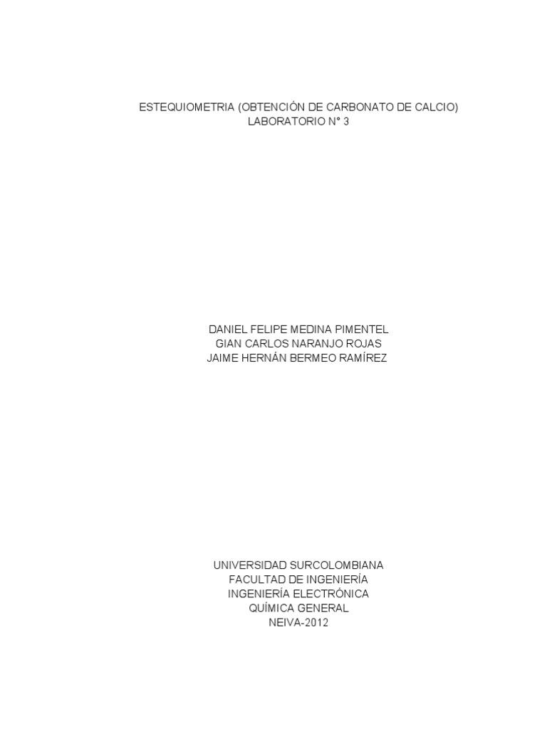 Estequiometria Obtencion de Carbonato de Calcio Laboratorio n 3