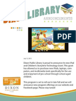 Dixon Library iPad and Children's Storytime Technology Grant