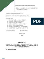 Practica de Determinacion de Acidez de La Leche