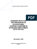 GuidanceNote PreventionofOccupationalOveruseSyndromeInKeyboardEmployment NOHSC3005-1996 PDF