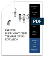 Parental Discrimination in Terms of Giving Education