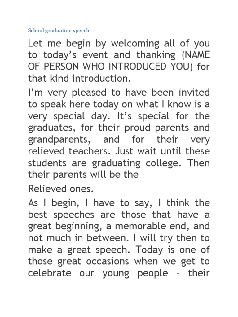 8th grade graduation speech template 8th grade for Valedictorian speech template