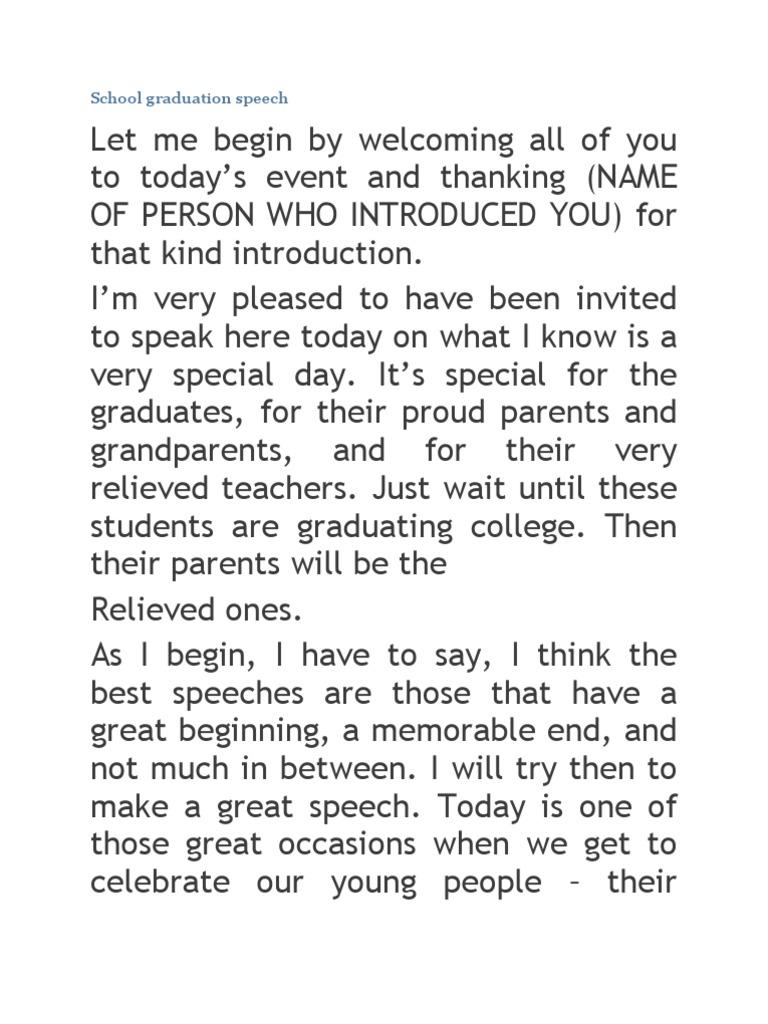 How to write a graduation speech for high school
