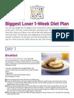 Biggest Loser 1 Week Diet Plan