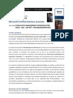 Microsoft Certified Solutions Associate  Microsoft Certified Solutions Associate  FACTSHEET MASTERCLASS   DEEL HBO-ICT OPLEIDING  Microsoft Certified Solutions Associate