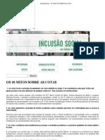 UFMG - Inclusão Social - OS 10 MITOS SOBRE AS COTAS