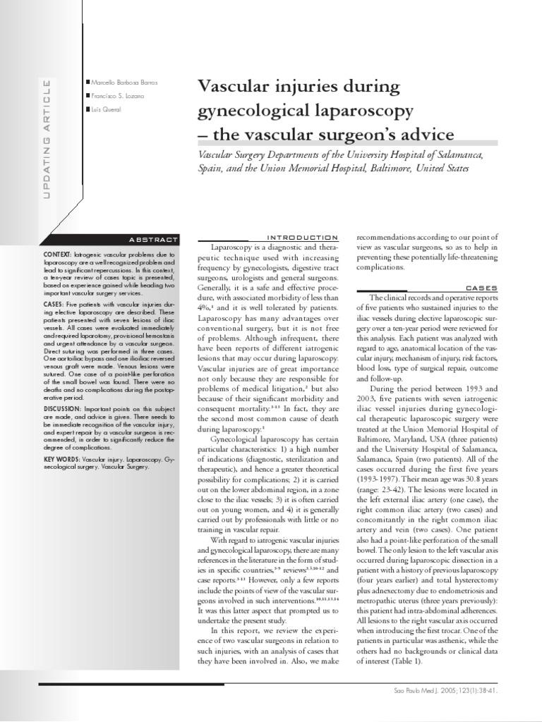 Vascular Injuries During Gynecological Laparoscopy | Surgery