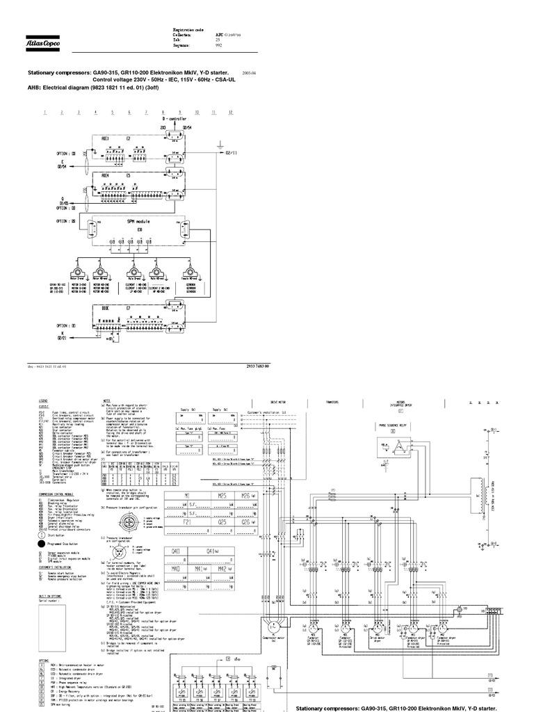 atlas copco wiring schematic diagrama electrico general ga90 315 gr110 200 pdf  diagrama electrico general ga90 315