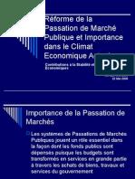 Réforme de la Passation de Marchés Publique et importance dans le Climat Économique Actuel