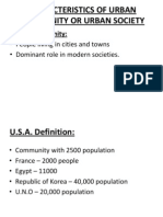 Characteristics of Urban Community or Urban Society