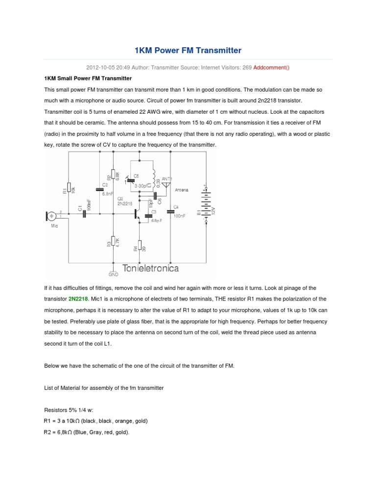 1km Power Fm Transmitter Frequency Modulation Small Circuit Schematic Diagram