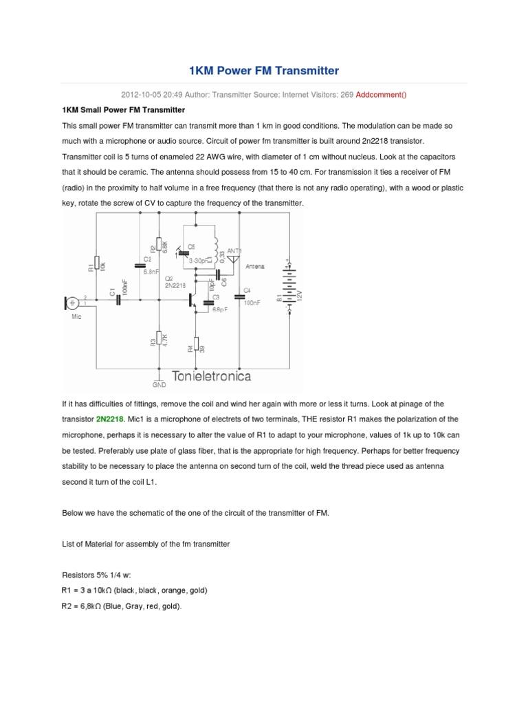 1km Power Fm Transmitter Frequency Modulation Circuit Schematic Diagram