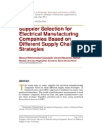 Supplier Selection for Electrical Manufacturing Companies Based on Different Supply Chain Strategies