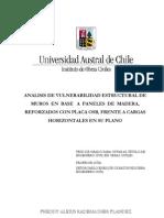 Análisis de vulenarabilidad estructural de muros en base a paneles de madera. Universidad Austral de Chile
