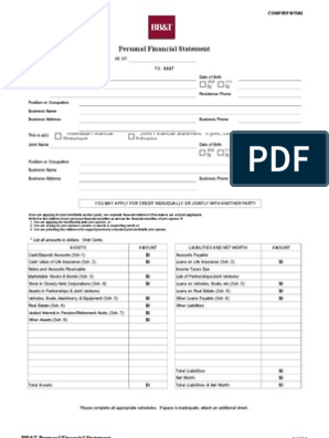 Bank Version Personal Financial Statement Credit History Credit Finance
