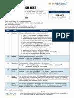 Sample TEST PAPER Versant English Test Watermark