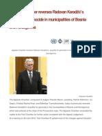 Appeals Chamber reverses Radovan Karadžić's acquittal for genocide in municipalities of Bosnia and Herzegovina